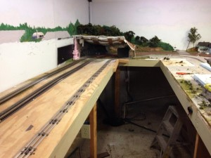 O scale room beign worked on. old airport torn out
