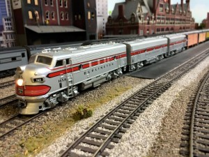 CBQ F's and string of reefers pass Milwaukee Union Station